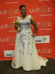 Issa winner Lebo Sekgobela with her crown award