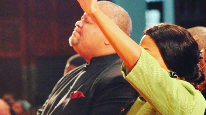 Zanele Mbokazi Nkambule and Bishop Mpendulo Worshiping